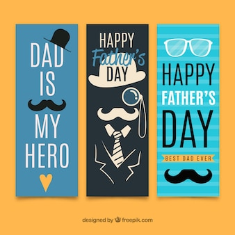 Father's day sale banners in flat style