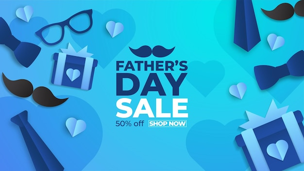Father's day sale poster with flatlay of glasses,necktie and gifts