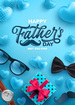Father's day sale poster with flatlay of glasses,necktie,watch and gifts for dad.