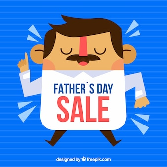 Father's day sale template with caricature of man