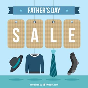 Modello di vendita del giorno del padre con elementi di vestiti
