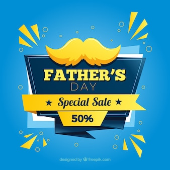 Father's day sale template with moustache in flat style