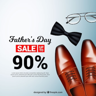 Father's day sale template with realistic clothes