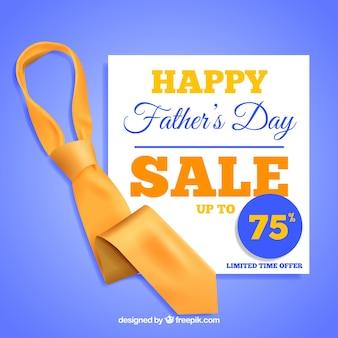 Шаблон продажи дня отца с реалистичным галстуком