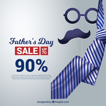 Father's day sale template with realistic tie