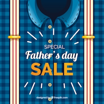 Father's day sale template with shirt and suspenders