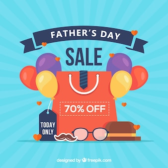 Father's day sale template with shopping bag and balloons
