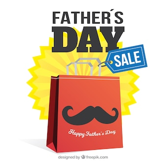 Modello di vendita di festa del papà con shopping bag