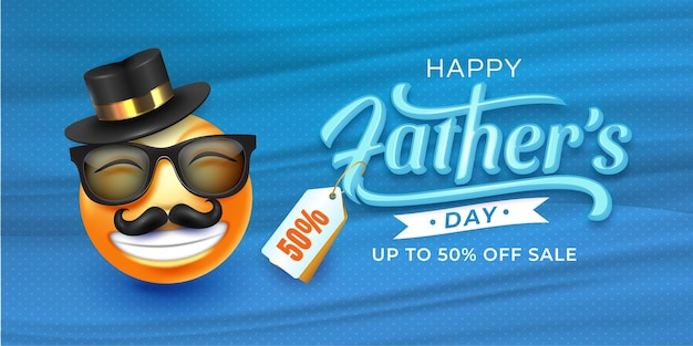Father's day sale with 3d emoji face.