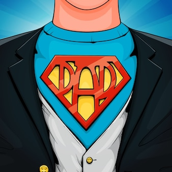 Father's day superhero illustration