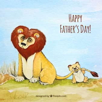 Father's day watercolor background with lions