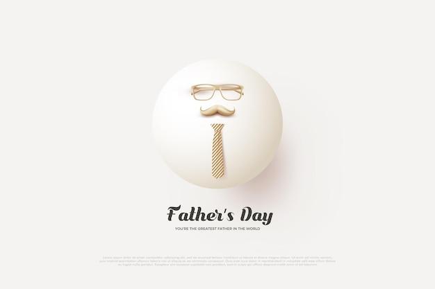День отца с белыми шарами 3d и очками.