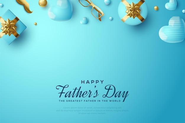 День отца с подарочной коробкой, золотыми очками и золотыми усами.