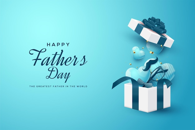 Father's day with an an open gift box containing 3d love balloons.