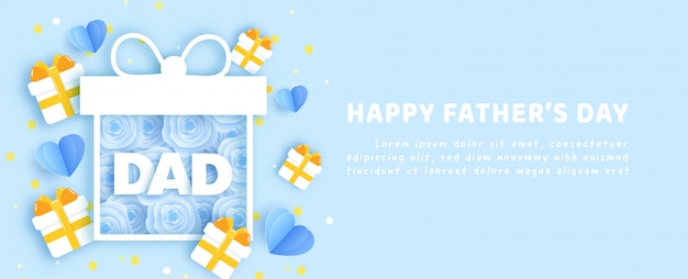 Father'sday banner in paper cut style.