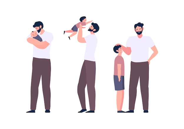 Father and son activities family bonding they spend time together. fathers day concept. life cycle dad and children illustration
