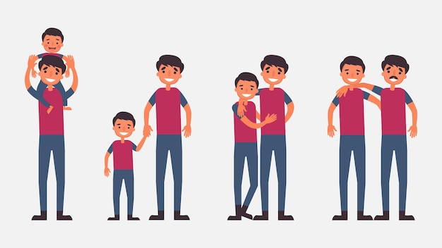 Father son activities perfect family bonding they spend time together.children is essential to their growth and development and to the type of human. illustration in flat cartoon style
