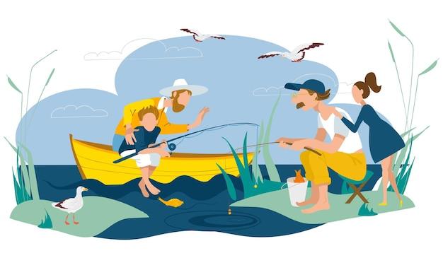 父、息子、娘が一緒に釣り、ベクトルイラスト。子供と男性の人々のキャラクター、お父さんとのアウトドアレジャー、男の子と女の子の子供。