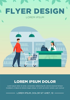 Father and son buying food in supermarket. cashier, trolley, store flat vector illustration. shopping and grocery store concept for banner, website design or landing web page