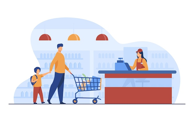 Father and son buying food in supermarket. cashier, trolley, store flat vector illustration. shopping and grocery store concept