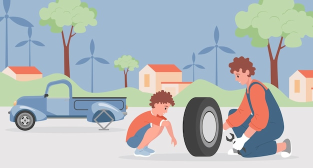Father and son changing and repairing car wheels together illustration