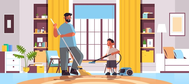 Father and son cleaning living room together parenting fatherhood friendly family concept dad spending time with his kid full length horizontal vector illustration
