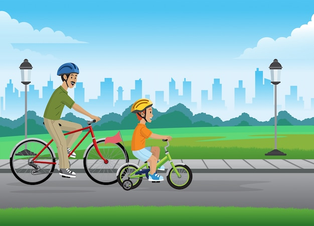 Father and son cycling on the park