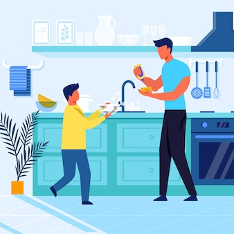 Father and son do dishes flat vector illustration