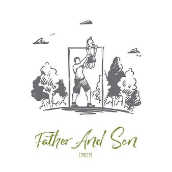 아버지, 아들, 가족, 운동, 스포츠 개념. 손으로 그린 아버지는 공원 개념 스케치에서 그의 작은 아들을 연습하는 데 도움이됩니다.