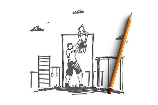 Отец, сын, семья, упражнения, спортивная концепция. рисованной отец помогает своему маленькому сыну делать упражнения на турнике на эскизе концепции детской площадки.