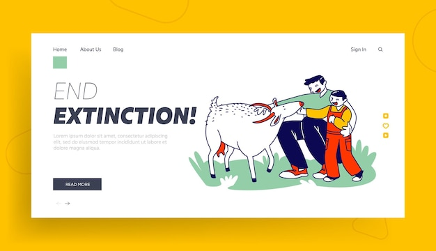Father and son in farm outdoor zoo landing page template.