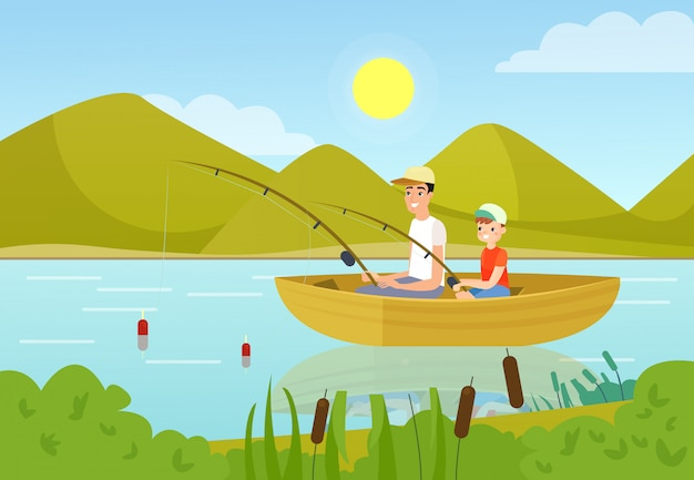 Father and son fishing in boat flat illustration. daddy and teenage boy enjoying summer outdoor activity. parent sharing hobby with child cartoon characters. happy childhood pastime idea.