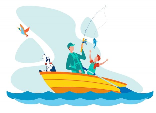 Father and son fishing flat vector illustration