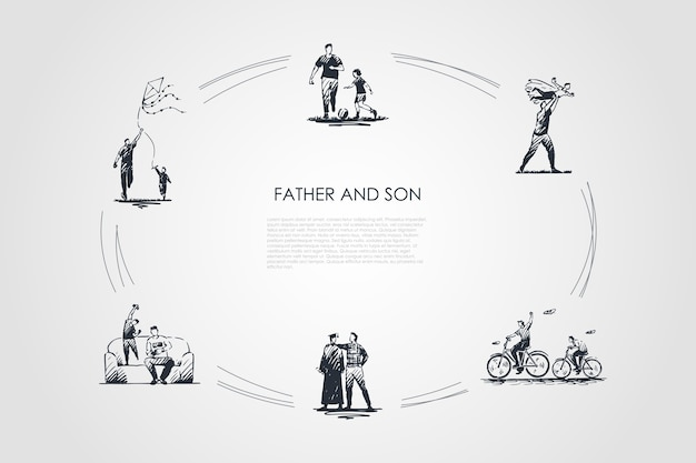 Father and son hand drawn cicle