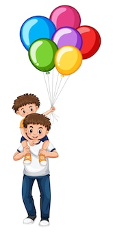 Father and son holding balloons