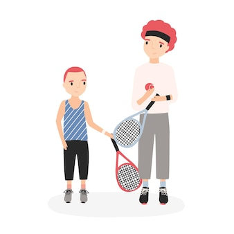 Father and son holding tennis rackets and ball. parent and kid performing physical activity or sports game training. funny cartoon characters isolated on white background. flat vector illustration.