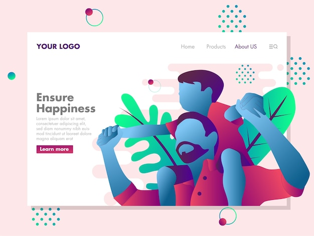 Father and son illustration for landing page