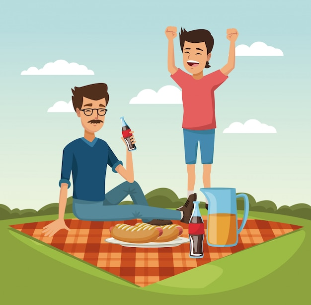 Father and son in picnic vector illustration graphic design