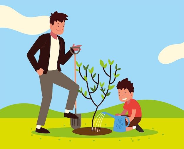 아버지 아들 나무 심기
