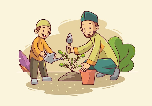 Father and son planting together
