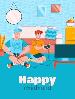 Father and son play computer games cartoon poster