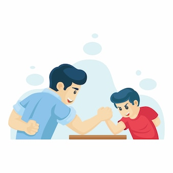 Father and son playing arm wrestling vector illustration.