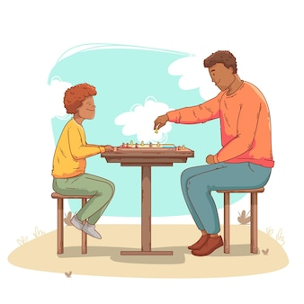 Father and son playing ludo game together