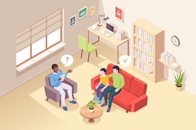 Father and son at psychologist counseling vector isometric design people at psychologist counselor