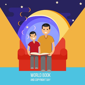 Father and son read book