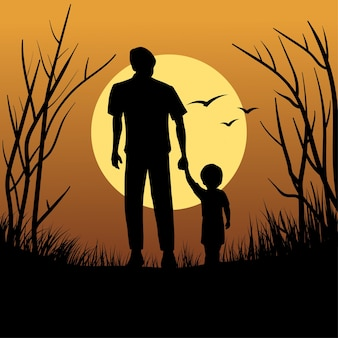 Father and son in silhouette walking at sunse