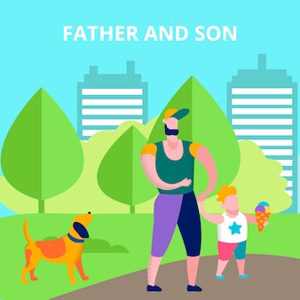 Father and son text card happy recreation together