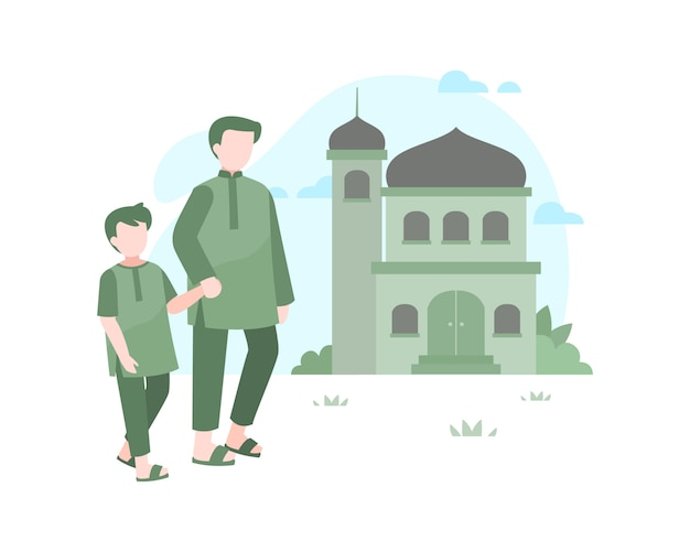 Father and son walking to mosque