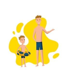 Отец проводит время с сыном. папа и сын готовятся плавать в бассейне, концепция счастливой семьи. отцовство плоский мультфильм векторные иллюстрации. активный отдых на свежем воздухе