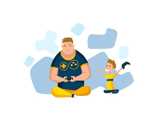 Отец проводит время с сыном. папа и сын играют в игру, концепция счастливой семьи. отцовство плоский мультфильм векторные иллюстрации. активный отдых на свежем воздухе